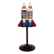 Red White & Blue Double Mighty Mite Rocket Gumball Vending Machine w/Husky Stand