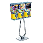 Beaver Square Three Head 16-inch Bulk 1-inch Toy Capsule Vending Machine w/Chrome Stand