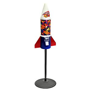 Red White & Blue Mighty Mite Rocket Gumball Vending Machine w/Retro Stand
