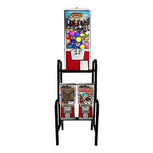"VendPro Triple Play 1"" & 2"" Toy Capsule, Candy, Gumball & Bounce Ball Vending Machine Rack"