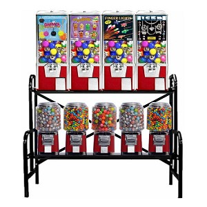 "VendPro Classic 9 Unit 1"" & 2"" Toy Capsule, Candy, Gumball & Bounce Balls Vending Machine Rack"