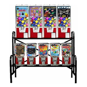 "VendPro Retro 9 Unit 1"" & 2"" Toy Capsule, Candy, Gumball & Bounce Balls Vending Machine Rack"