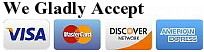 We Accept Visa, Master Card, Discover & American Express