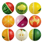 6-inch Inflatable Printed Fruit & Veggie Vinyl Balls 250 Count Box