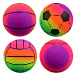 6-inch Inflatable Rainbow Sports Vinyl Balls 100 Count Box