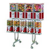Beaver Super 45 - 9 Unit Bulk Candy, Gumball & Toy Capsule Combo Vending Machine Rack