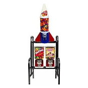 Mighty Mite Rocket & VendPro Classic Square Head 3 Unit Candy & Gumball Machine Vending Combo Rack
