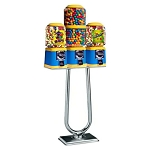 Beaver Southern Triple 16''-23''-16''Barrel Head Bulk Candy & Gumball Machine w/BS400 Stand