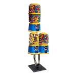 Beaver Southern Three Unit Bulk Candy & Gumball Vending Machine w/Chrome J-Tube Stand