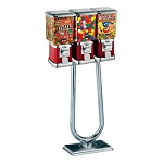 Beaver Square Three Head 16-inch Bulk Candy & Gumball Vending Machine w/Chrome Stand