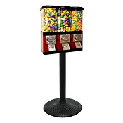 VendPro Triple Pod (Changeable Canisters) Bulk Candy & Gumball Vending Machine w/Stand