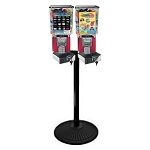 VendPro Square Two Head Bulk 1-inch Toy Capsule Vending Machine w/Locking Cash Drawer & Retro Stand