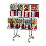 Beaver BS800-C33-1 - 9 Unit Toy Capsule, Candy, Gumball & Bounce Balls Vending Machine Combo Rack