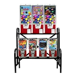 VendPro Retro 7 Unit Toy Capsule, Candy, Gumball & Bounce Balls Vending Machine Rack