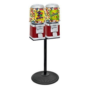 Dual Barrel Head Candy Gumball Machine